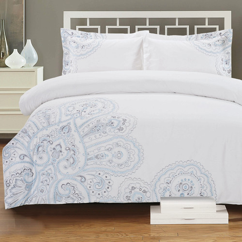 Melange Home Paisley Embroidered 3 Piece Duvet Cover Set
