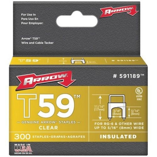 "Arrow Fastener 5/16"" x 5/16"" Clear T59 Staples"