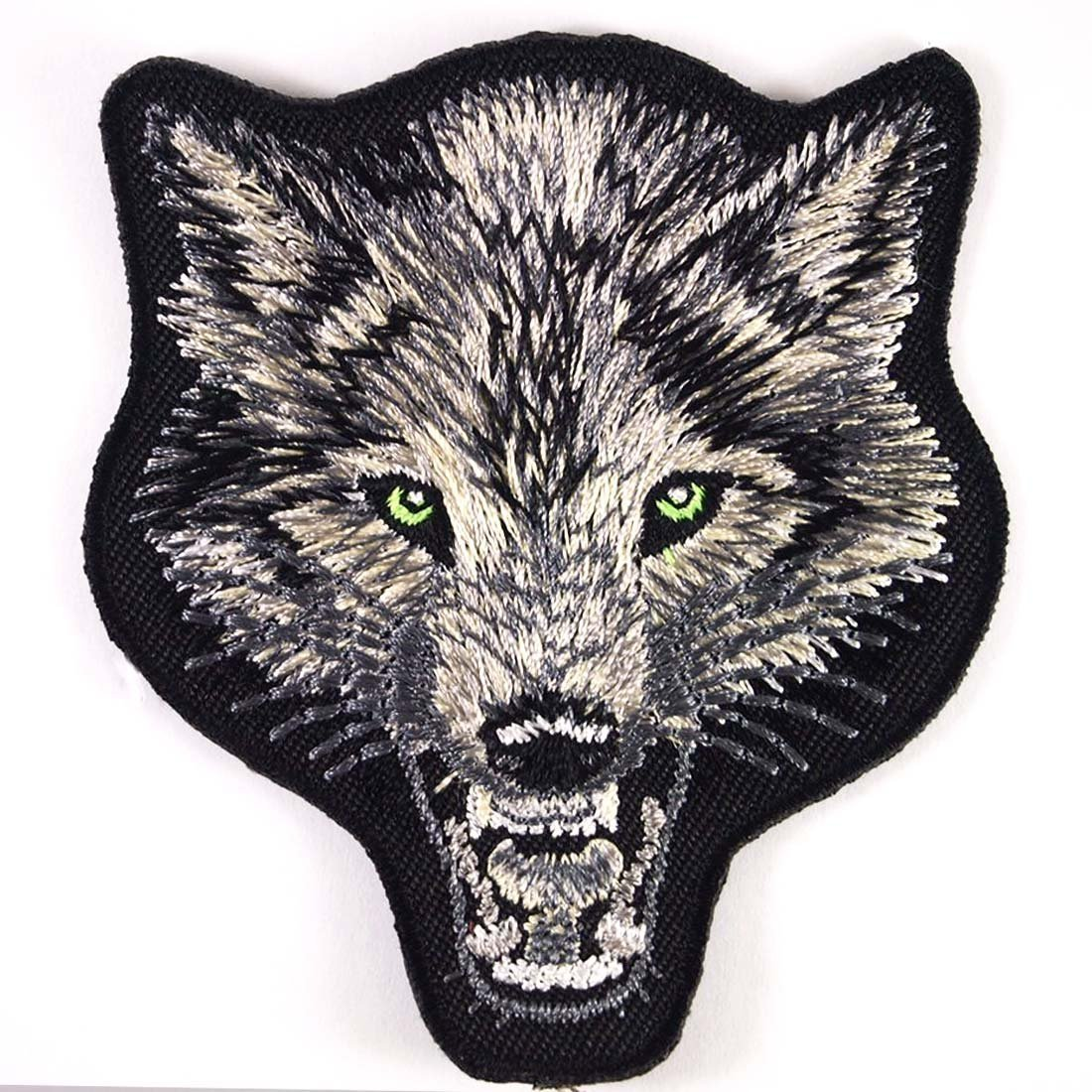 "Wolf Gray 3 1/4"" x 3 1/2"" logo Embroidered Iron On Applique Patch"