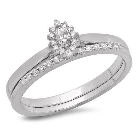 Dazzlingrock Collection 0.25 Carat (ctw) 10K Marquise & Round Cut Diamond Halo Engagement Ring Set 1/4 CT, White Gold, Size 7