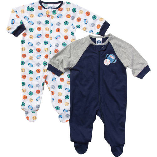 Gerber Newborn Baby Boy Zip Front Sport Sleep N Play  - 2 Pack