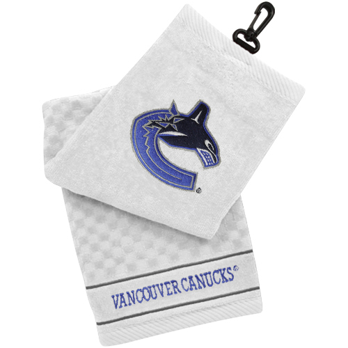 Vancouver Canucks Embroidered Tri-Fold Golf Towel - White - No Size