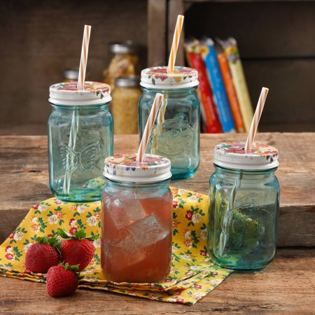 The Pioneer Woman Simple Homemade Goodness 16 Ounce Mason Jar with Timeless Floral Lid & Straw, 4 Count