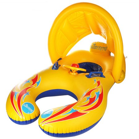 Inflatable Swimming Ring for Kids Parent-child Float Boat Pool Toy with Handle Horn Steering Wheel -