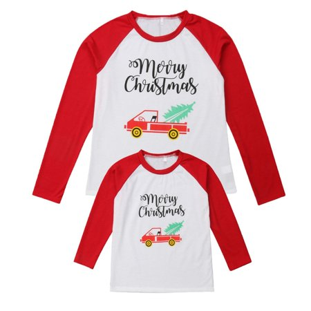 Family Matching Clothes Mom Dad Kids Winter Jumper Long Sleeve Xmas Tops T-Shirt ()