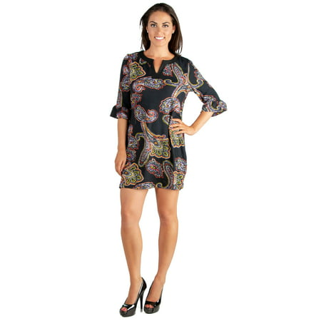 - 24seven Comfort Apparel Paisley Print 3/4 Length Sleeve Tunic Mini Dress