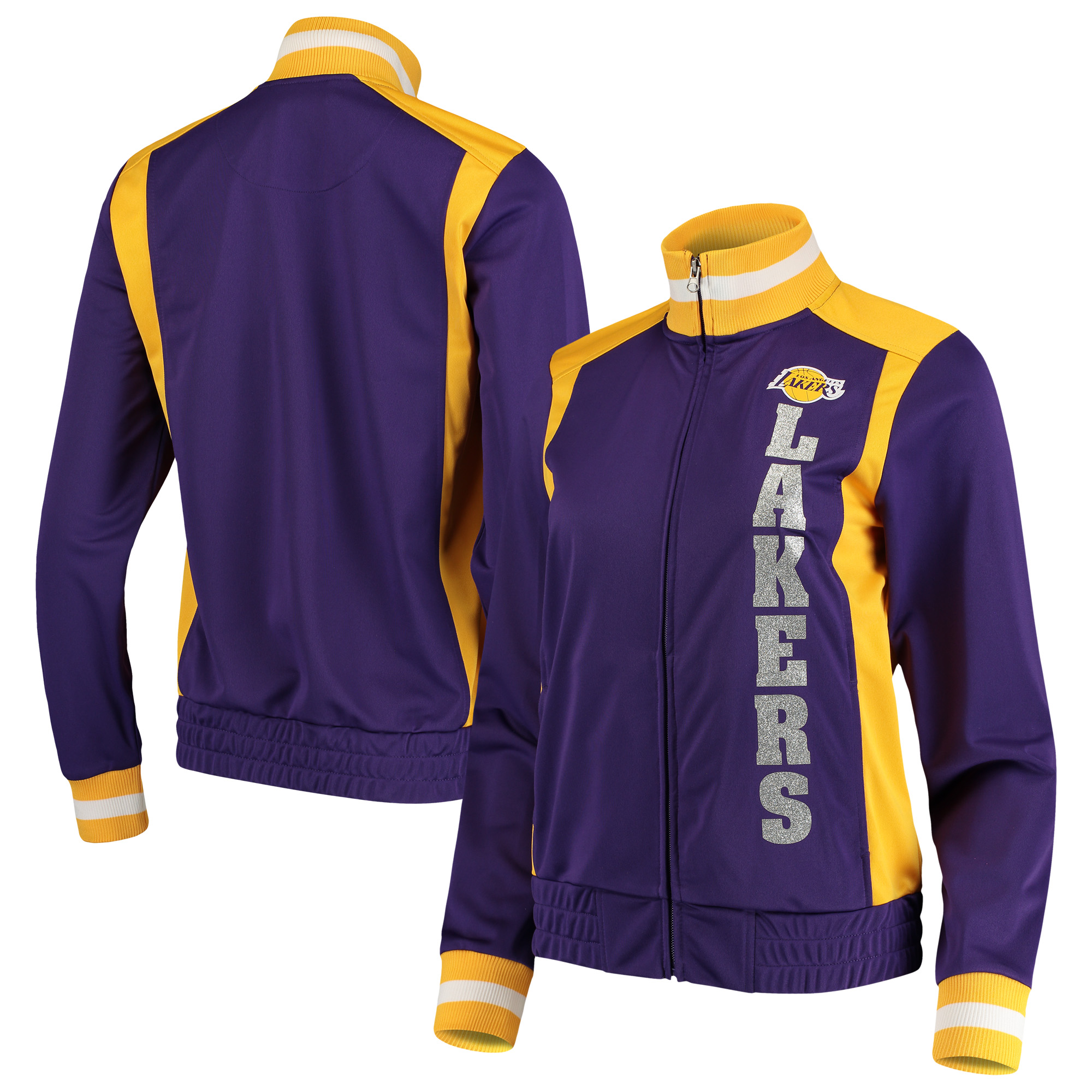 Los Angeles Lakers G-III 4Her by Carl Banks Women's On-Deck Platinum Glitter Track Jacket - Purple/Gold