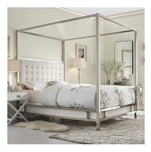 Modern Square Polished Chrome Canopy Poster Queen Bed With Off White Button  Tufted Linen Upholstered Headboard