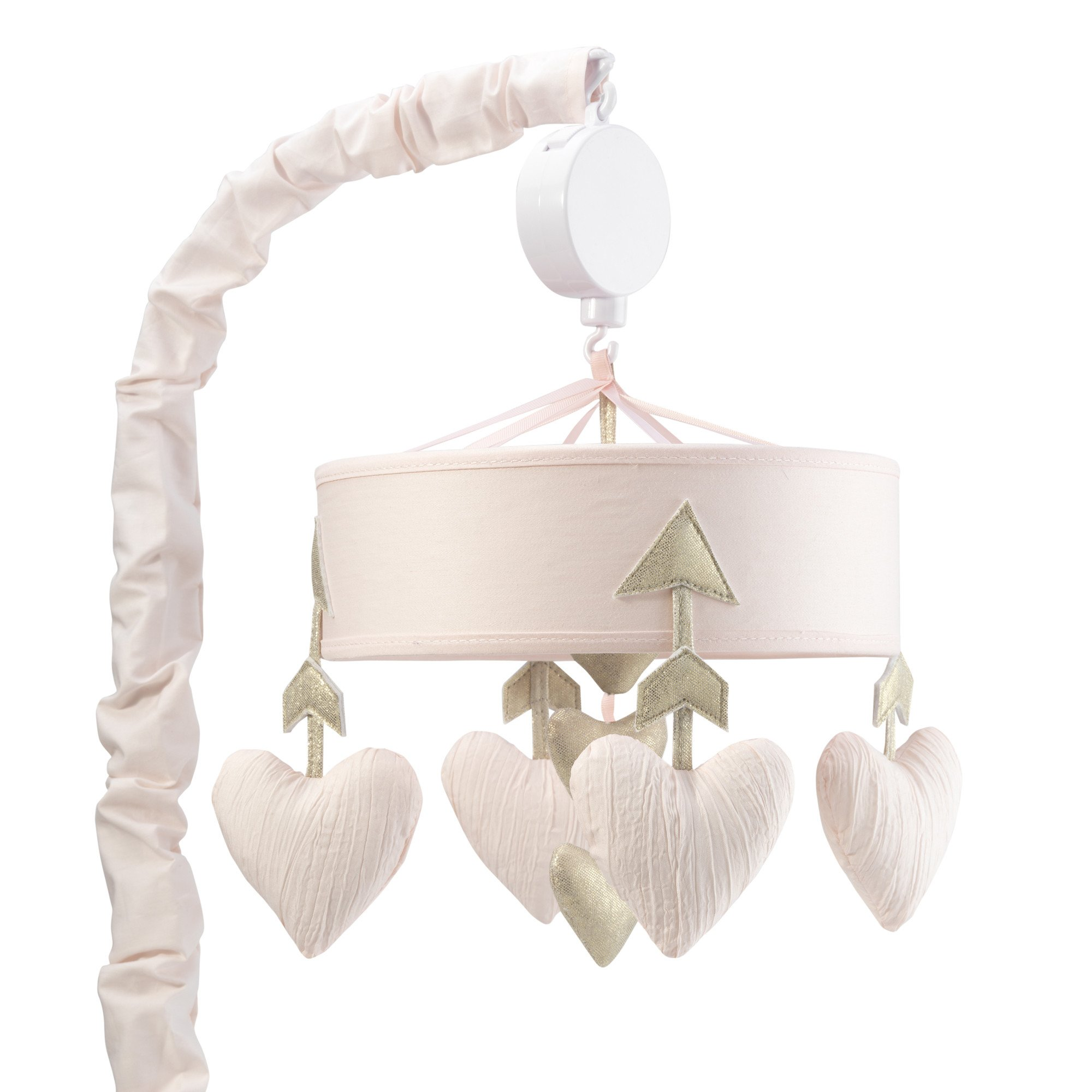 Lambs & Ivy Baby Love Pink/Gold Hearts and Arrows Musical Baby Crib Mobile