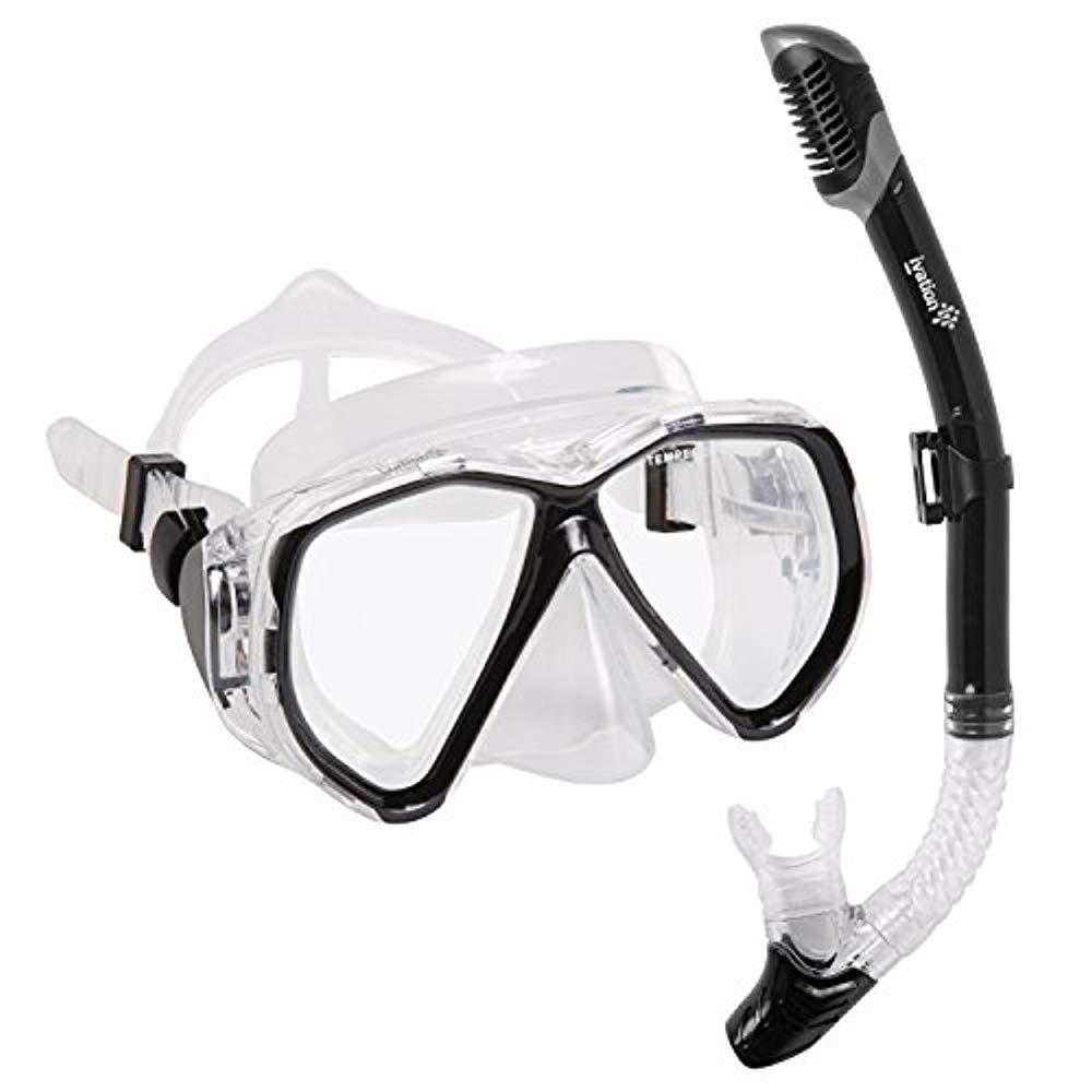 Snorkel Mask Set Adult Snorkeling Gear Double Lens Diving Mask & Snorkel w  Dry Top, Lower Purge Valve, Black by Ivation