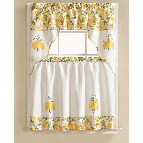August Grove Gironde Lemon 3 Piece Kitchen Curtain Set