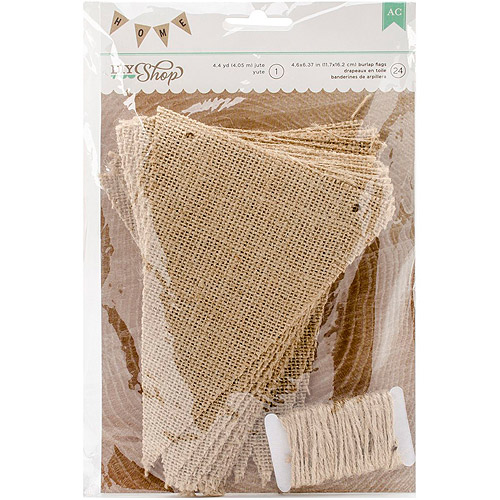 "DIY Shop 2 Banner 24-Piece with 4.4yd Jute String, Natural Burlap Pennant, 4.6"" x 6.37"""