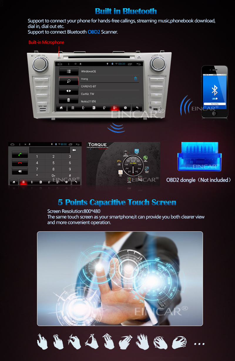 Quad-core Lollipop 8 inch Car Stereo Autoradio For TOYOTA CAMRY (2007-2012)  HD Capacitive Touch Screen DVD Player Autoradio Bluetooth USB SD 4G Dongle