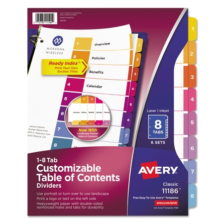 AveryR Ready IndexR Table Of Contents Dividers Tab - Avery ready index template