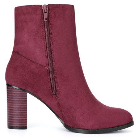 Women Round Toe Stacked Block Heel Ankle Booties Burgundy US 9 - image 1 of 7