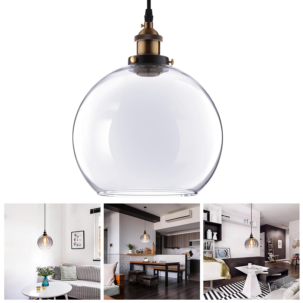 "Yescom Vintage Industrial 9.8"" Ball Shape Glass Ceiling Light Pendant Light Edison Lamp for Cafe Kitchen"