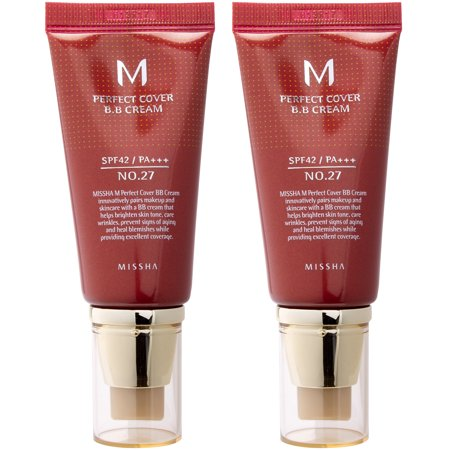 MISSHA M Perfect Cover BB Cream, #27 Honey Beige, 1.69 Oz, Pack of