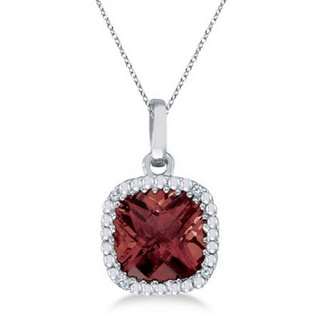 Cushion-Cut Garnet and Diamond Pendant Necklace 14K White Gold (7mm)