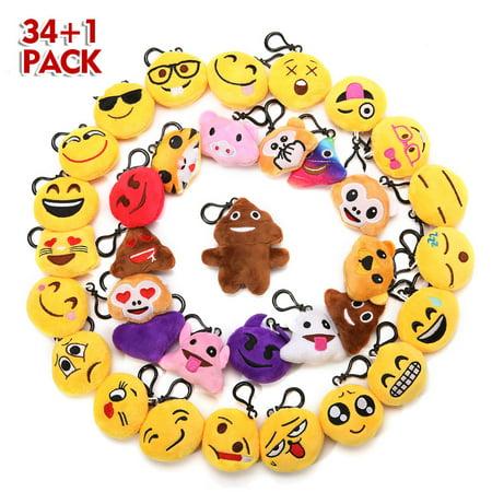 34Pack Emoji Keychain, Emoji Party Favors Mini and Cute Plush Pillows, Emoji Party Supplies for Kids Christmas, Birthday, Classroom - Classroom Birthday Ideas