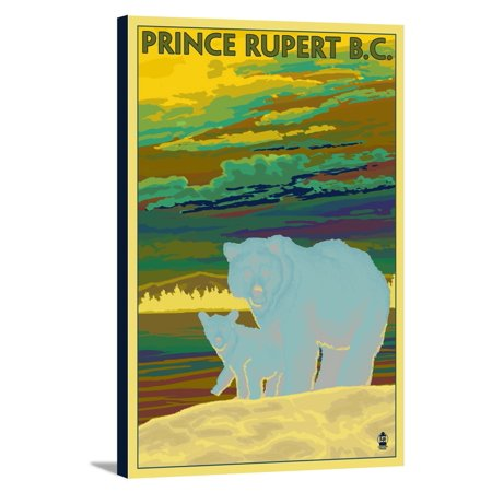 Prince Rupert, BC Canada - Bear & Cub - Lantern Press Poster (12x18 Gallery Wrapped Stretched Canvas) - Walmart.com