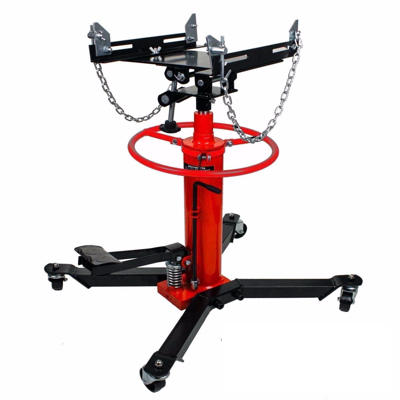 GHP 1100-Lbs Red Black Cylinder Hydraulic Pressure Transmission Jack w Safety Chain