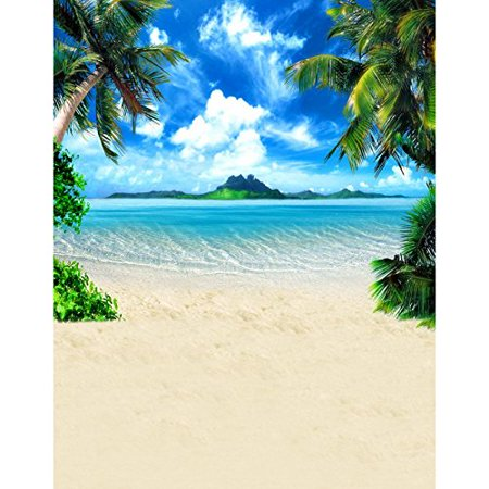 GreenDecor Polyster 5x7ft Beach Seaside Sun Palm Tree Island Photography Studio Backdrop Background - Palm Tree Backdrop
