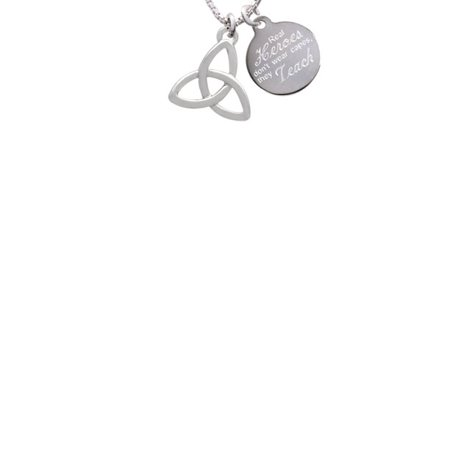 - Silvertone Large Trinity Knot Real Heroes Don't Wear Capes They Teach Engraved Necklace
