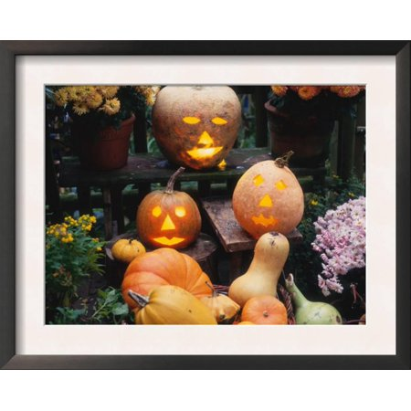 Different Kinds of Pumpkin and Pumpkin Faces at Halloween (... Framed Art Print Wall Art - Halloween Hexe Kind