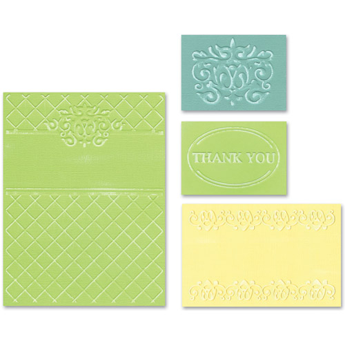 Sizzix Textured Impressions Embossing Folders, Thank You Set #5