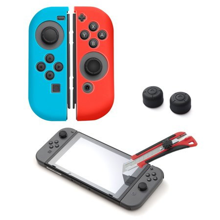 Nintendo Switch Screen Protector Glass Bundle Kit, by Insten Silicone Joy Con Skin Case [Left/Right] + Tempered Glass Screen Protector + Style 2 2-pc Analog Caps for Nintendo Switch
