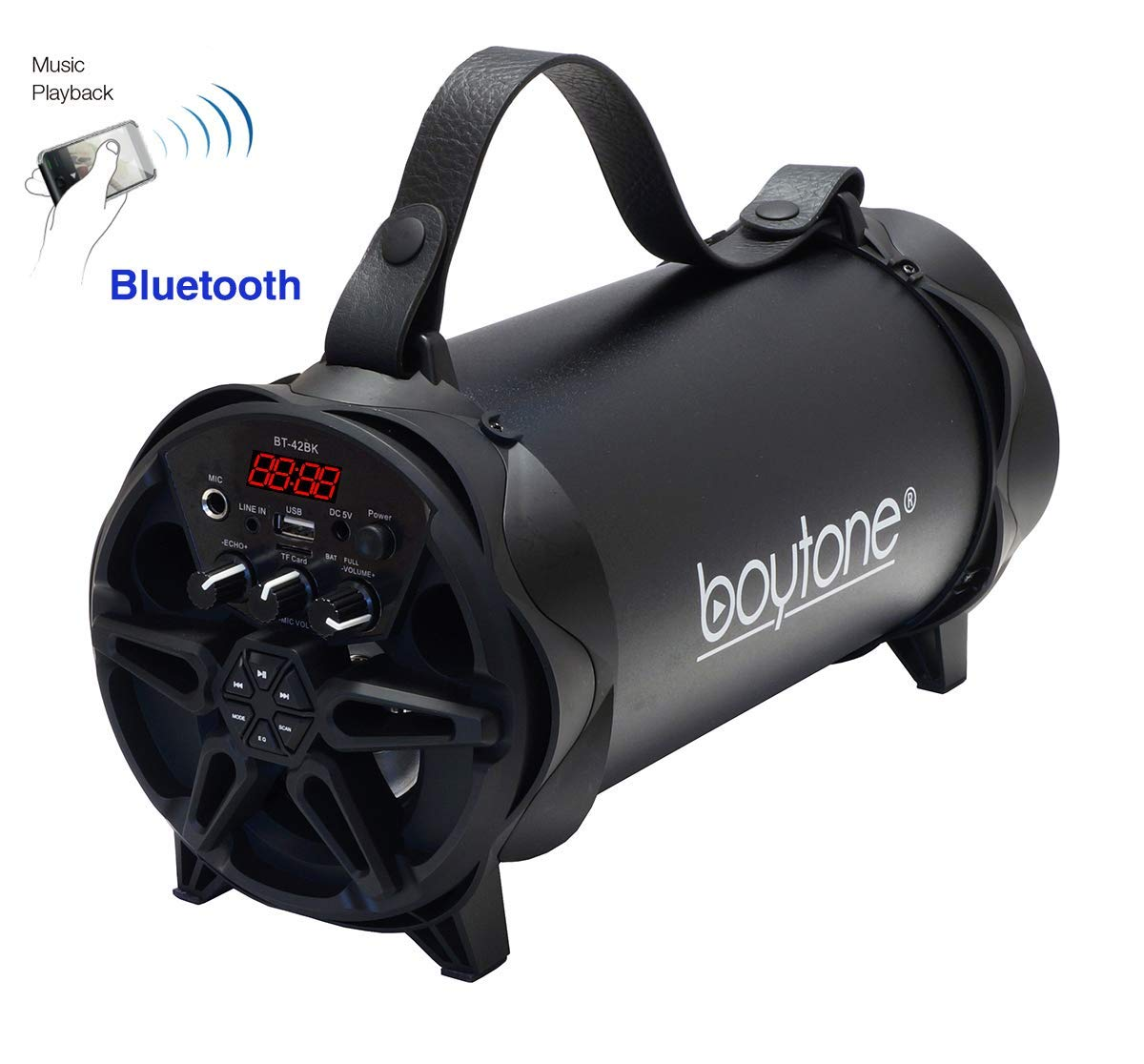 Boytone BT-42BK Portable Bluetooth Indoor/Outdoor 2.1 Hi-Fi Cylinder Loud Speaker