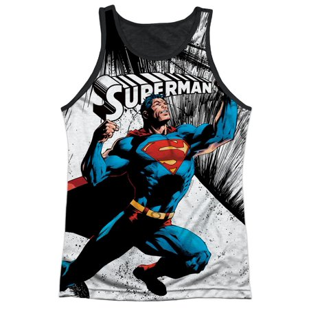 Superman Cartoon TV Series Movie Super Strength Adult Black Back Tank Top Shirt (Adult Movie Tv)