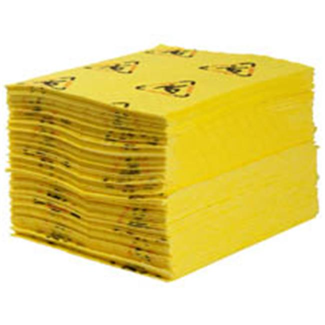 Brady 655-CH100 High Visibility Safety And Chemical Absorbent Pad, 15 x 19, Med-Weight