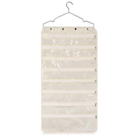 Fabric Jewelry - Jewelry Organizer Hanging Bag with Hook - Foldable Non-Woven Fabric Earring Storage Display Holder with Dual Side 56 Clear Zipper Pockets for Necklace Bracelet Ring Accessories, Beige