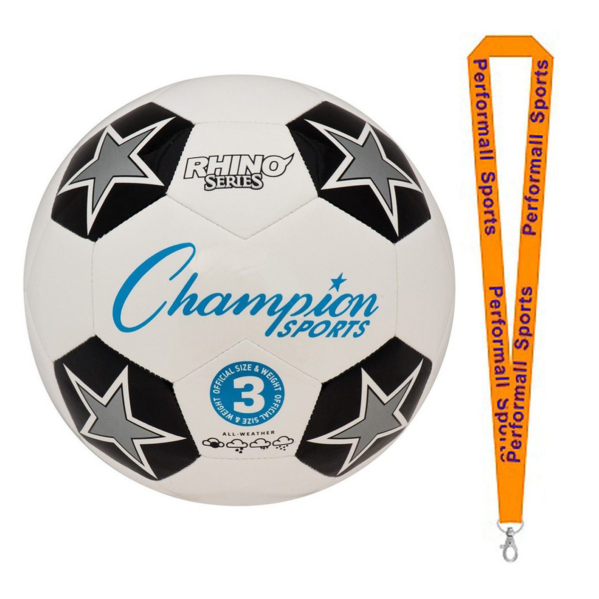Champion Sports Bundle: RX Soccer Ball Assorted Colors and Sizes with 1 Performall Lanyard