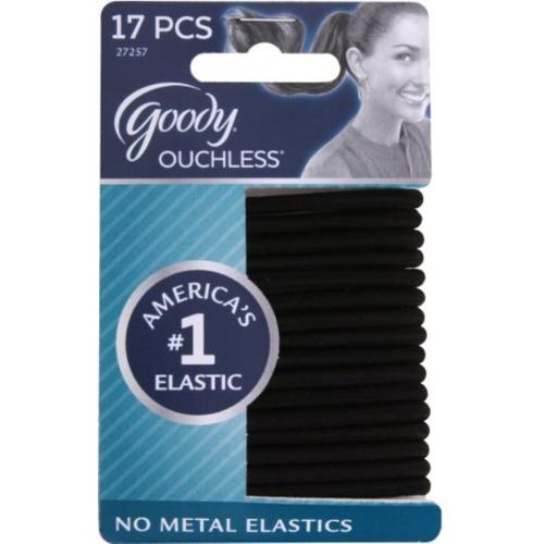 Goody Ouchless Hair Elastics Black 17 ea (Pack of 3)