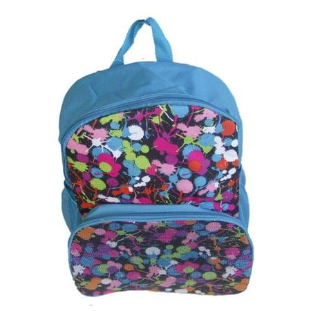 GDC Blue Sequin Backpack Colorful Paint Splat Sport School Travel Back Pack