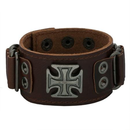 Maltese Cross Brown Leather Cuff Bracelet