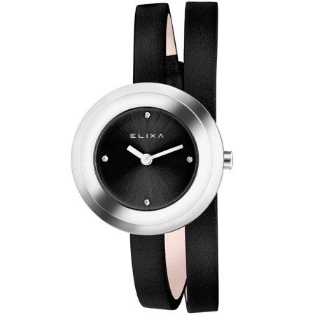 - E092-L353 Black Double Wrap Leather Strap Women's Watch