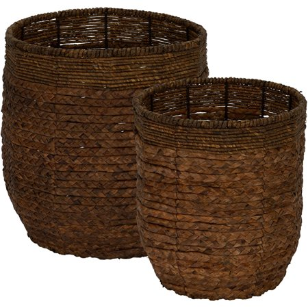 HOUSEHOLD ESSENTIALS Rimmed Blended-Weave Wicker Baskets, Set, of - Paper Basket Weaving