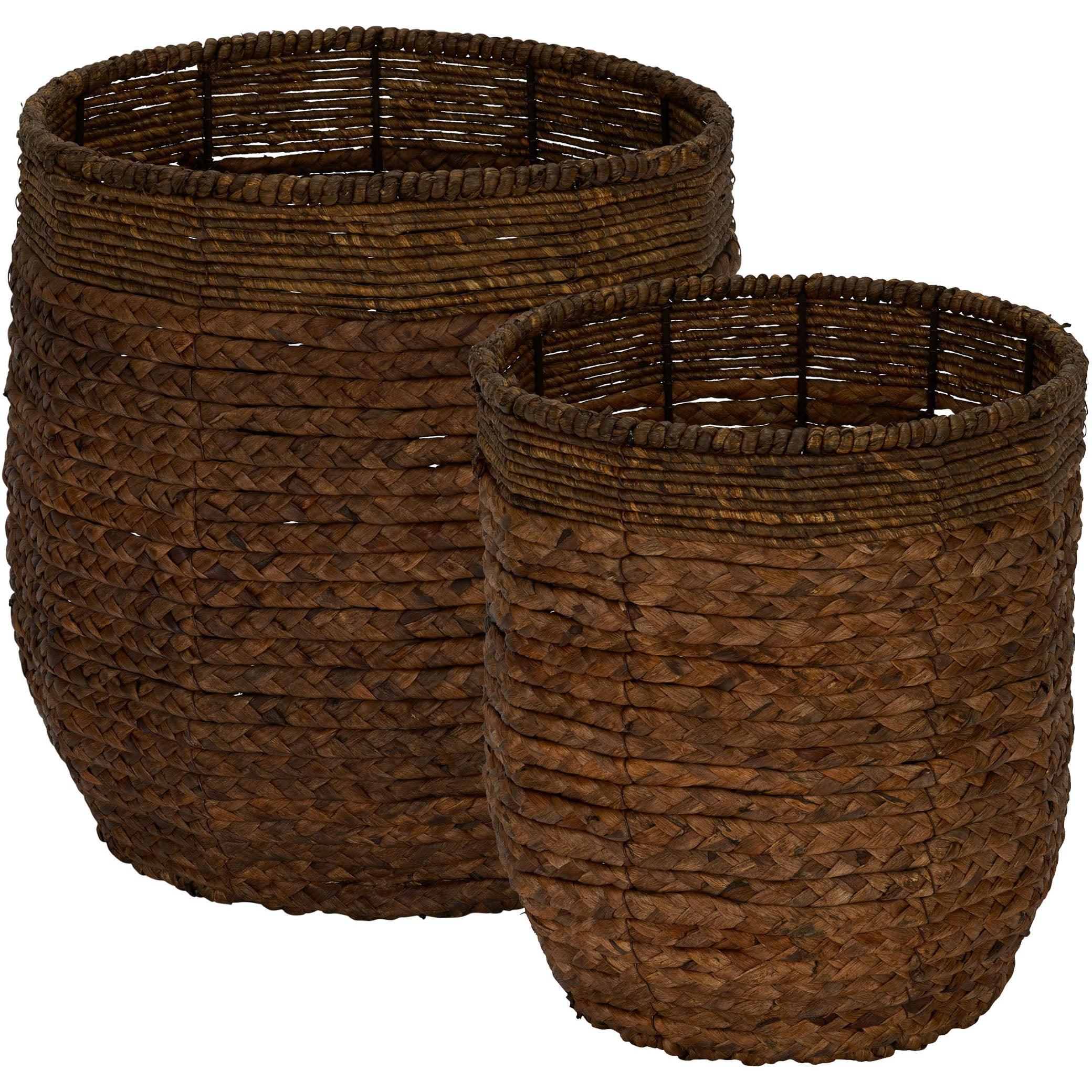 HOUSEHOLD ESSENTIALS Rimmed Blended-Weave Wicker Baskets, Set, of 2