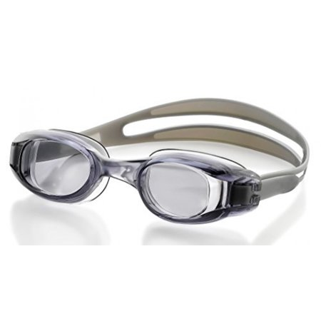 (Swimming Goggles for Adults - Gray - Universal Leak Resistant Eye-Socket Fit, Ultra UV Protection, Fully Adjustable Latex Free Split Strap)