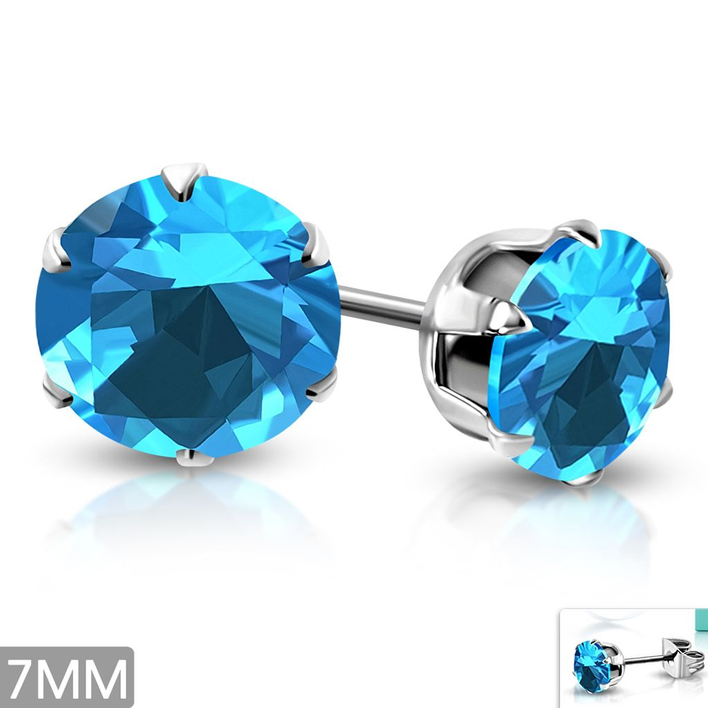 7mm Stainless Steel Prong Set Round Circle Stud Earrings with Sky Blue CZ pair