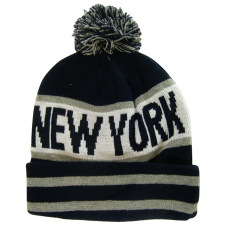 New York City Adult Size Winter Knit Beanie Hats (Black/Dark Gray Large (Letter Knit Hats)