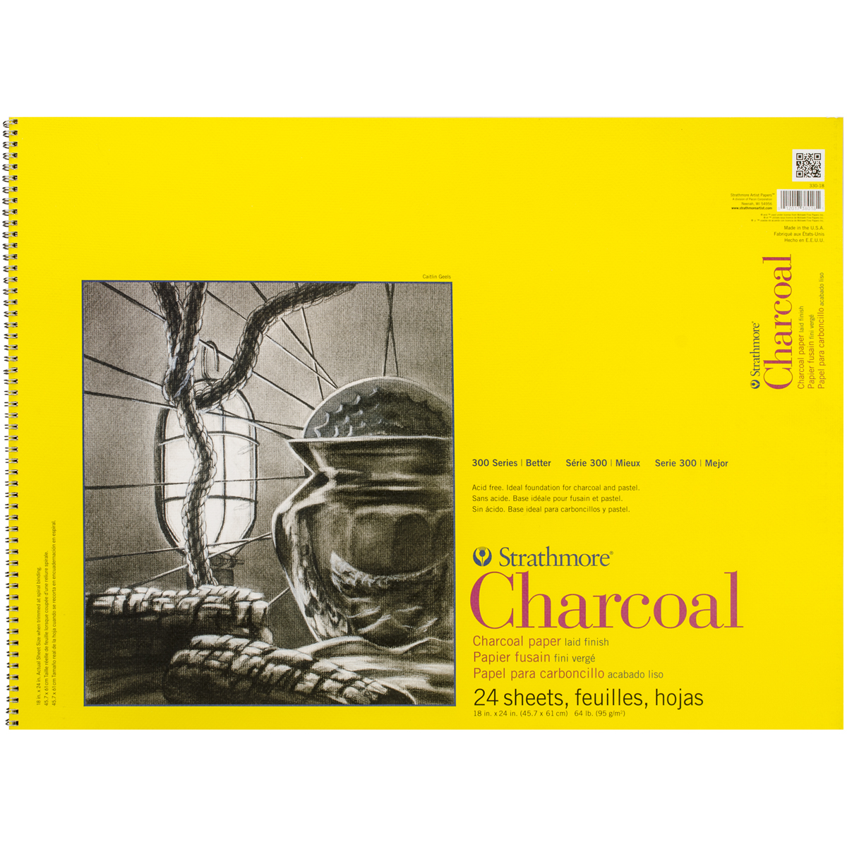 "Strathmore Charcoal Paper Pad, 18"" x 24"", 64lb, White, 24 Sheets"