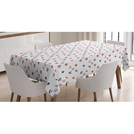 Usa Tablecloth Fourth Of July Independence Day Traditional Abstract Square Forms Ilration Rectangular Table