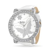 Fashion Round White Dial Cubic Zirconia CZ Pave Bezel Large Butterfly Watch For Women For Teen White Faux Leather Band