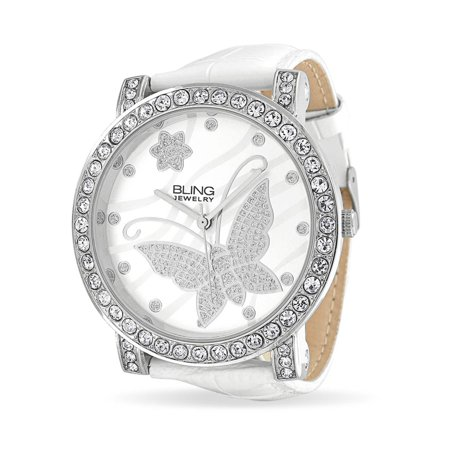 Fashion Round White Dial Cubic Zirconia CZ Pave Bezel Large Butterfly Watch For Women For Teen White Faux Leather (Bezel Gunmetal Black Leather)