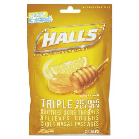 Halls Triple Action Cough Drops  Honey Lemon  30 Bag