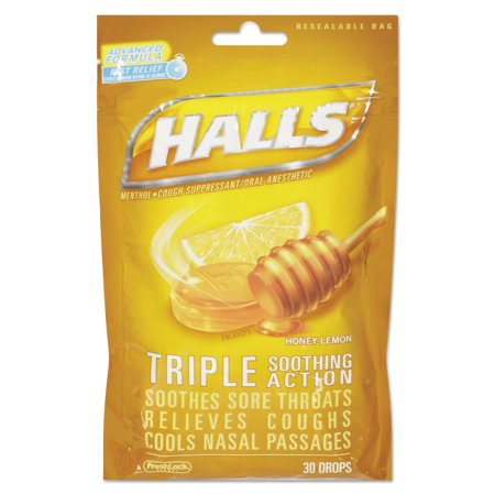 HALLS Triple Action Cough Drops, Honey-Lemon, 30/Bag